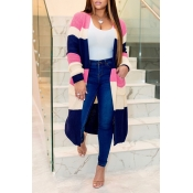 Lovely Casual Color-lump Patchwork Pink Cardigan