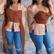 Lovely Sweet Patchwork Brown Blouse