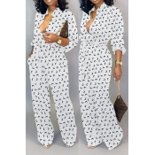 Lovely Leisure Printed Loose White One-piece Jumpsuit