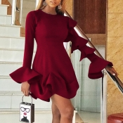 Lovely Sweet Flounce Design Wine Red Mini Dress