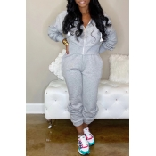 Lovely Casual Zipper Design Grey Two-piece Pants Set