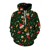 Lovely Christmas Day Printed Green Hoodie
