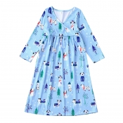 Lovely Family Printed Blue Girls Knee Length Dress