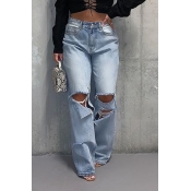 Lovely Casual Hollow-out Loose Baby Blue Jeans