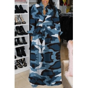 Lovely Casual Turndown Collar Camouflage Printed B