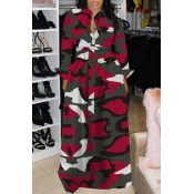 Lovely Casual Turndown Collar Camouflage Printed W