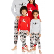 Lovely Family Printed Red Mother Two-piece Pants S