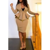 Lovely Work V Neck Flounce Design Khaki Two-piece Skirt Set(Without Belt)