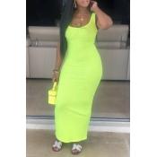 Lovely Casual Sleeveless Skinny Green Ankle Length