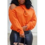 Lovely Cross-over Design Sweater Casual Orange Size S To XXXL