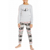 Lovely Family Printed Grey Kids Two-piece Pants Se