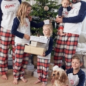 Lovely Family Patchwork White Kids Two-piece Pants