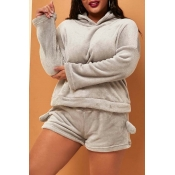 Lovely Casual Hooded Collar Grey Plus Size Two-pie