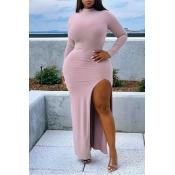Lovely Casual Side High Slit Pink Floor Length Dre