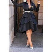 Lovely Sweet V Neck Flounce Design Black Knee Leng