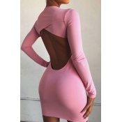 Lovely Trendy Hollow-out Pink Mini Dress