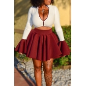Lovely Casual Zipper Design Wine Red Two-piece Ski