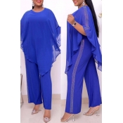 Lovely Casual Cloak Design Blue Plus Size Two-piec