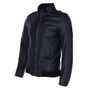 Lovely Casual Basic Zipper Design Black Leather