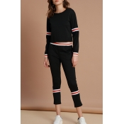 Lovely Chic Striped Black Cotton Two-piece Pants S