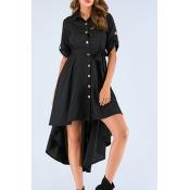 Lovely Trendy Buttons Black Knee Length Dress