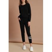 Lovely Sportswear Striped Black Cotton Two-piece P