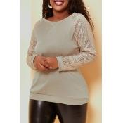 Lovely Trendy Patchwork Brown Sweatshirt Hoodies
