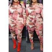 Lovely Casual Printed Pink Plus Size Two-piece Pan