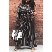 Lovely Casual Striped Loose Black Plus Size Two-pi