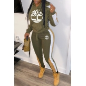 Lovely Casual Hooded Collar Printed Army Green Two