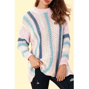 Lovely Casual Striped Pink Acrylic Sweaters