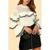 Lovely Euramerican Flounce Design White Sweaters