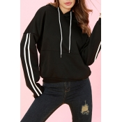 Lovely Casual Long Sleeves Striped Black Cotton Ho