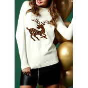 Lovely Casual Christmas White Cotton Blends Sweate