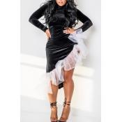 Lovely Sweet Asymmetrical Patchwork Black Ankle Length Dress