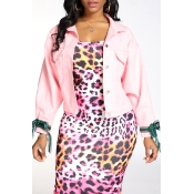 Lovely Trendy Buttons Design Light Pink Coat
