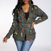 Lovely Casual Printed Army Green Coat