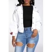 Lovely Trendy Buttons Design White Jacket