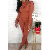 Lovely Sweet Turtleneck Flounce Design Brown Two-p