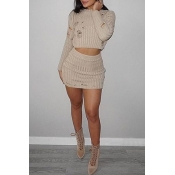 Lovely Sexy O Neck Skinny Apricot Two-piece Skirt