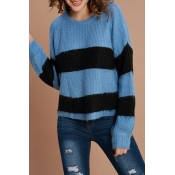 Lovely Casual Striped Blue Acrylic Sweaters