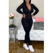 Lovely Trendy Zipper Design Skinny Black One-piece Jumpsuit