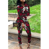 Lovely Casual Turndown Collar Printed Red Two-piec