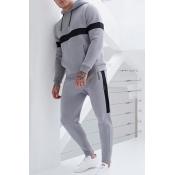 Lovely Sportswear Patchwork Grey Two-piece Pants S
