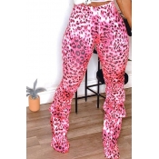 Lovely Casual Ruffle Design Pink Plus Size Pants
