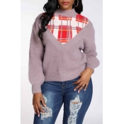 Lovely Casual Patchwork Dusty Pink Sweater