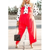 Lovely Trendy Dot Printed Red Plus Size One-piece