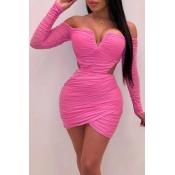Lovely Party Ruffle Design Rose Red Mini Dress