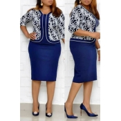 Lovely Casual U Neck Printed Blue Knee Length Plus