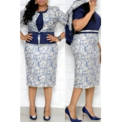 Lovely Casual Printed Blue Plus Size Two-piece Ski